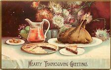 Embossed Thanksgiving Postcard  A/S Clapsaddle, Mincemeat Pie & Turkey on Table