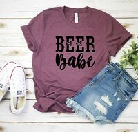 Beer Babe T-Shirt Distressed Letters Shirt Short Sleeve with Funny Saying