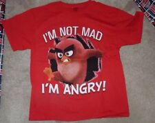 NEW ANGRY Birds Mad T Shirt Youth Boys L Large 14 16 Red NEW NIP