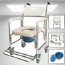 Multifunction Transport Padded Shower Bedside Commode Wheelchair Toilet Chair
