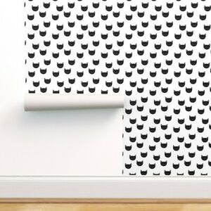 Removable Water-Activated Wallpaper Cat Black And White Kitty Feline Kawaii