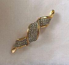 Swarovski Signed Swan Logo Gold Tone & Crystal Bar Brooch 3.5'' Long