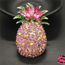 Betsey Johnson Charm Brooch Pin Gift New Pink Bling Cute Fruit Pineapple Crystal