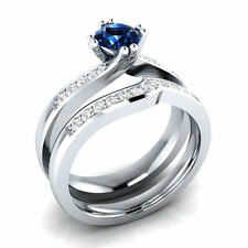 1.20Ct Blue Diamond Bridal Set Engagement Ring 14K White Gold Over Size 4-13