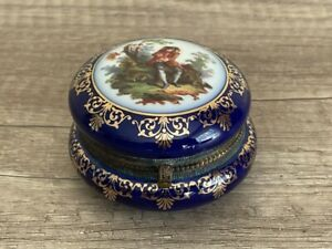 kleine Porzellan Deckeldose .. kobaltblau...Prunk Dose...