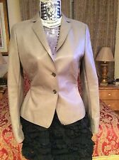 CHIC & ELEGANT AKRIS SUMPTUOUS taupe glove soft lamb LEATHER Jacket