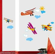 Airplanes Helicopter & Sun Clouds Removable Wall Sticker Kids Boys Living Room