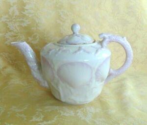 IRISH BELLEEK NEW SHELL PATTERN TEA POT PINK W/ GOLD GILT 3RD GREEN MARK