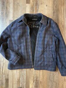 Gap wool coat jacket mens XXL plaid dark grey and dark blue