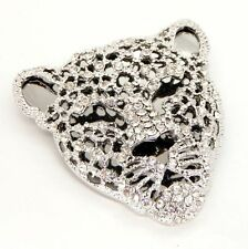 New Silver Tone Crystal Leopard Cat Head Brooch in Gift Box