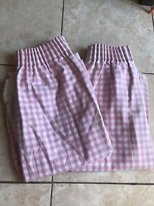 Vintage Retro Style Pink Gingham Laura Ashley Curtains