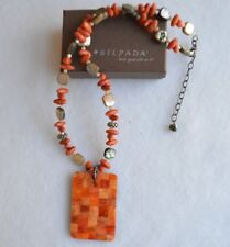 Silpada ''RARE'' Coral Abalone Mother-of-Pearl Pendant Necklace N1260