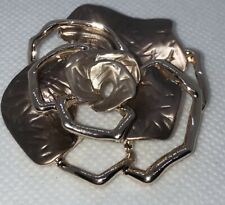 Magnetic Brooch Flower Rose Gold Tone Champagne Mocha Shiny Metallic Enamel NEW