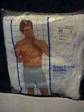 NOS TOWNCRAFT JCPenney SNAP FRONT BOXERS 3 PACK SIZE 40 WHITE AUSTIN MANOR NEW