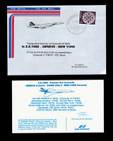 AIR FRANCE FIRST FLIGHT COVER CONCORDE UNITED NATIONS GENEVA TO NY JFK 1982