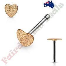 316L Surgical Steel Nose Bone Stud Ring with Rose Gold Sandbast Finish Heart Top
