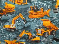 Construction Vehicles Dump Trucks Diggers Blue Cotton Fabric Bthy