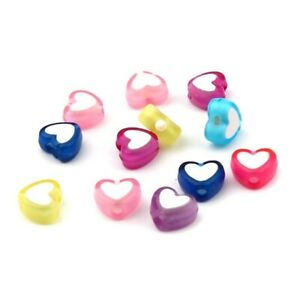 200 Assorted Color Heart Shape White Hearts 8x7mm Art Craft Valentines Day Beads