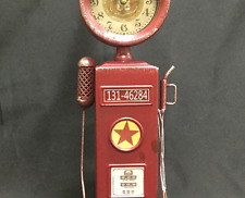 Vintage Looking Metal Red Gas Pump Clock