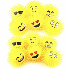 NEW! Box of 12 PCS Flashing LED Light Fluffy Spikey Emoji Rubber Balls Glowy