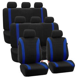 3-Row Car Auto Seat Covers for Auto Vehicle Sedan SUV Van Truck Blue