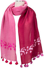Trachtenschal Rosa Pink 100% Wolle Quasten Hirsche Edelweiss bestickt