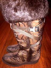 Coach Knee High Brown Quilted Snow Boots With Fur Mackenzie Size 7.5