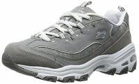 Skechers Womens D'Lites Low Top Lace Up Running Sneaker, Grey, Size 9.5 WdXG