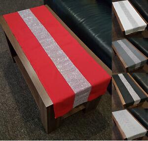 "Diamante Table Runner White / Silver / Red / Black Diamante Strip 55"" Long"