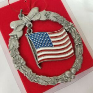 Patriotic Ornament Rawcliffe Pewter American US Flag Christmas Tree USA Made