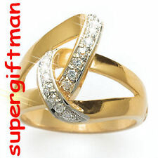 X032 - BAGUE OR DOUBLE AM. / ring goud  DIAMANTS CZ T52
