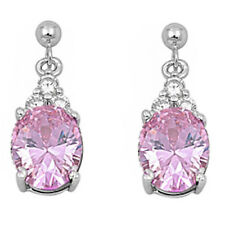 DANGLING OVAL PINK TOPAZ  & CZ .925 Sterling Silver Earrings