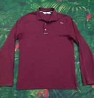 Mens BMW Maroon Embroidered Long Sleeve Polo Shirt Size Medium