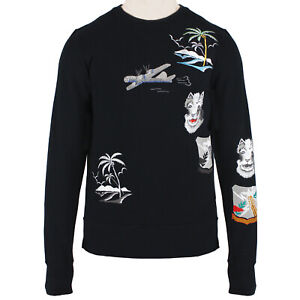 Mihara Yasuhiro Runway Collection Black Embroidered Sweatshirt IT46 S