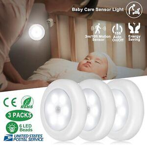3 Pack Motion Sensor 6 LED Night Light Cordless Battery-Powered Closet Lamp