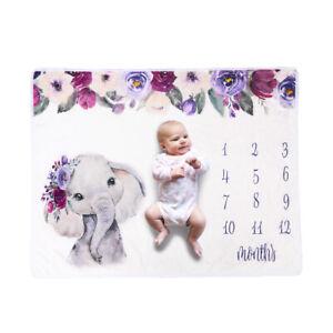 Baby Monthly Milestone Blanket Newborn Photo Backdrop Elephant Flannel Blanket