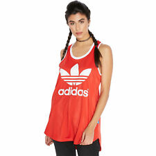 adidas Originals Womens Relaxed Fit Sleeveless Trefoil Track Tank Top Vest - Red 10