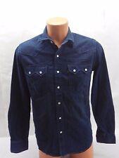New Levis Mens Sawstooth 61879 Medium Dark Denim Perl Snap Western Jean Shirt M