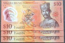 Brunei $ 10 polymer d6 952333 - 335 3 pcs R/N 2011 unc