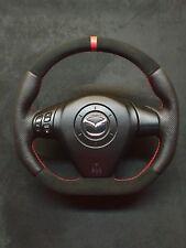 Steering Wheel Mazda RX8  NEW ALCANTARA + LEATHER ! FLAT BOTTOM ! SPORT STYLE