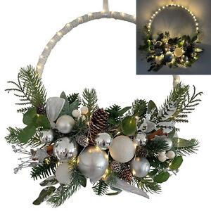 Türkranz Weihnachtskranz mit LED Lichterkette, Timer Deko Weihnachten Silber 495