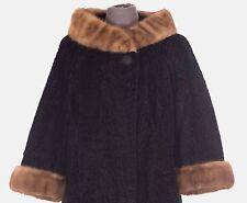 VINTAGE Women's Karakul Sheepskin Shearling Fur & Mink Jacket Size S Small