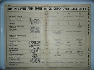 AUSTIN SEVEN EIGHT 7 8 BIG SEVEN VAN ORIGINAL DATA CHART PUB RESTAURANT DISPLAY