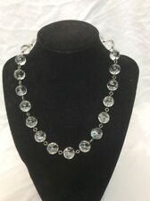 Beautiful Vtg Victorian Silver Rock Crystal Pool Of light Necklace