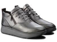 GEOX RESPIRA GENDRY D745TA scarpe donna sneakers alte pelle zeppa borchie zeppa