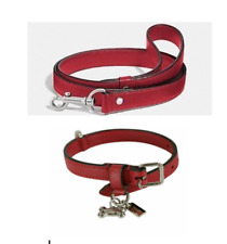 NEW!! COACH Small Leather Dog Collar w/ Bone Charm & Large Leather Leash Red Set