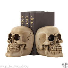 Skull Book Ends Bookends Pair Decorative Ornament Gothic Gift Present Unique