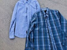 SALE @ DOCKERS Set of 2 Striped & Plaid Stain Defend Dress Casual Shirt Men Sz M