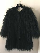 Fabulous Noir Faux manteau de fourrure par River Island Taille 10