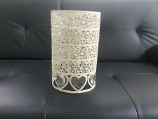 Ornate Ivory/Cream Metal Lightshade Cutout Design With Glass Hearts